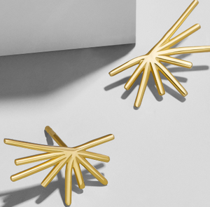 Half Sun Earrings Gold Plated Studs - Hollywood Sensation