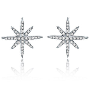 Star Stud Earrings Cubic Zirconia Gold Plated - Hollywood Sensation