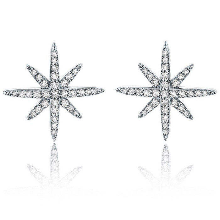 Star Stud Earrings Cubic Zirconia Gold Plated