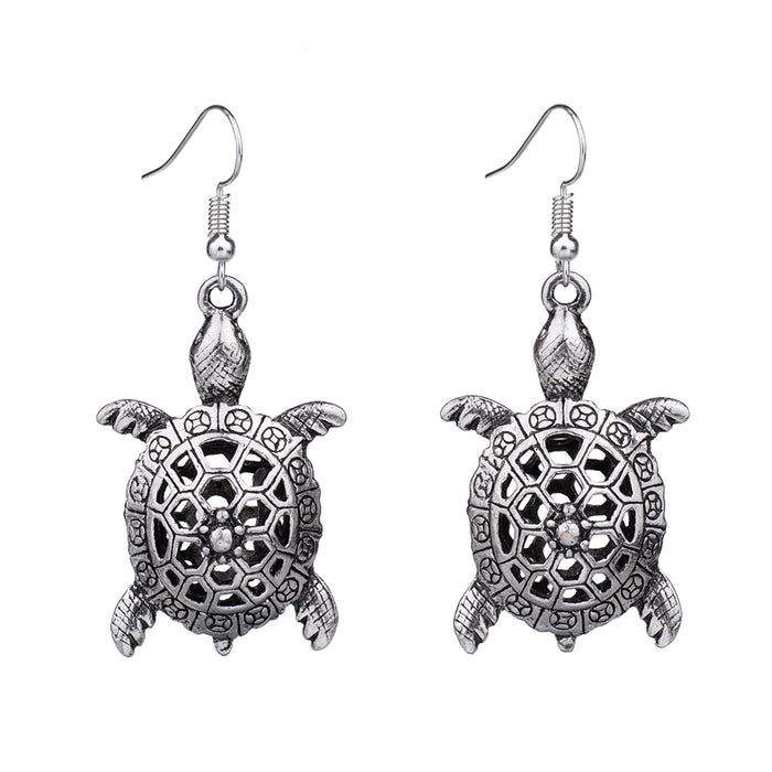 Turtle Retro Vintage Drop Dangle Silver Earring