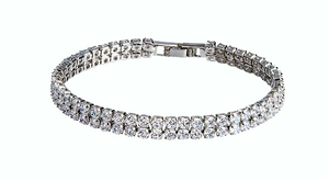 Double-Row Simulated Diamond Silver Tennis Bracelet - Hollywood Sensation