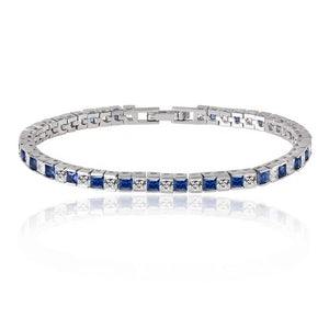 Princess Cut Tennis Bracelet with White Diamond and Sapphire Cubic Zirconia
