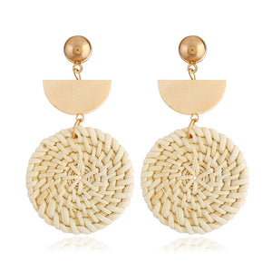 Rattan Earrings Organic Wooden Straw Weave - Hollywood Sensation