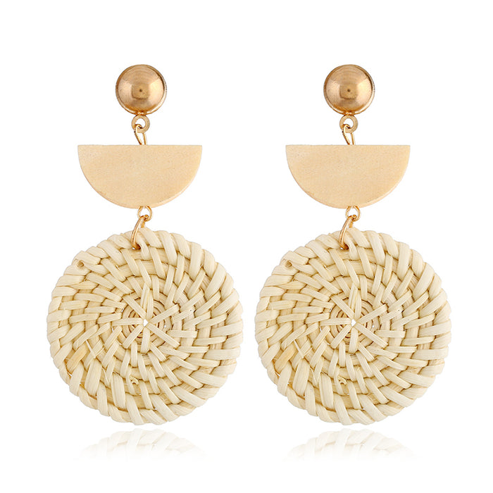 Earrings for Women- Organic Wooden Straw Weave Rattan Earrings -Drop Dangle Earrings