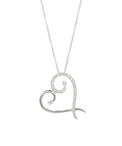 Harmony Modern Heart Necklace 925 Sterling Silver Plated - Hollywood Sensation