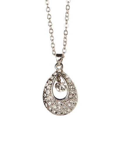 Angel Teardrop Necklace With Crystal Element 18K Gold Plated - Hollywood Sensation
