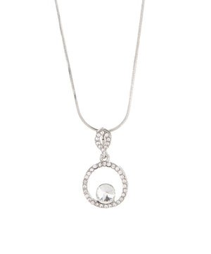 Pave Circle Crystal and White Gold Plated Pendant Necklace - Hollywood Sensation