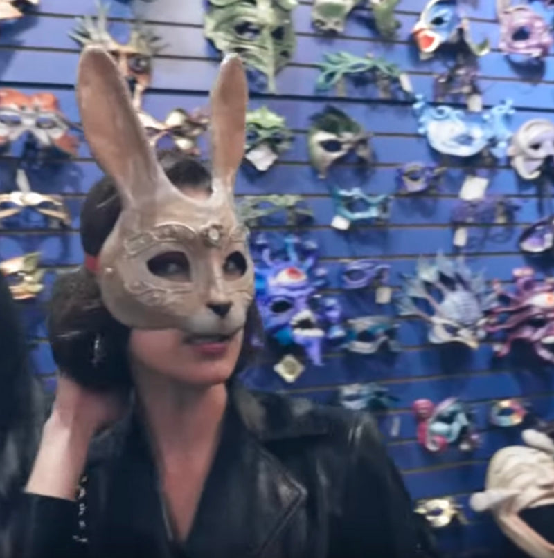 Bella Hadid tries on Erik's Inspiration Bunny mask in New Orleans