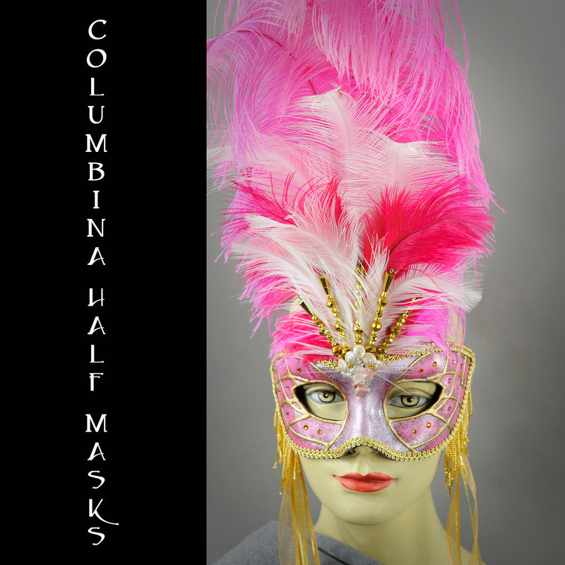 The Half Mask Columbina is probably the most versatile masquerade mask for both men and women.