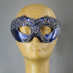 Purple and gold lacquered lace masquerade mask with crystals and gems