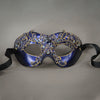Purple and gold lacquered lace masquerade mask with crystals and gems. Detail.