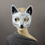 Arctic fox paper-mache masquerade mask, white and silver