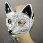 arctic fox paper mache masquerade mask detail