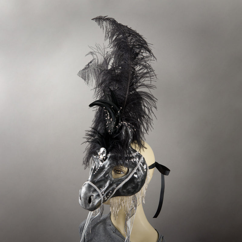 Black horse masquerade mask with ostrich feathers and Swarovski crystals