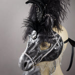Black horse masquerade mask detail