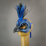 Blue Jay bird masquerade mask with goose feathers and assorted gems