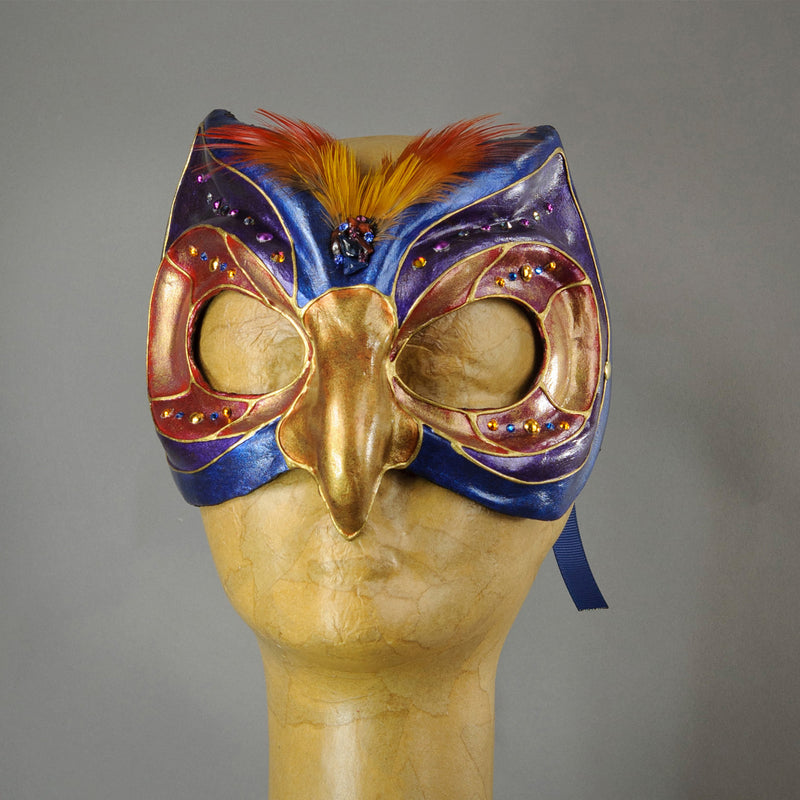 Blue Owl mask, paper-mache, feathers and gems
