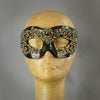 Bronze and gold lace eye mask with crystals and gems.