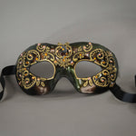 Bronze and gold lace eye mask with crystals and gems. Detail.