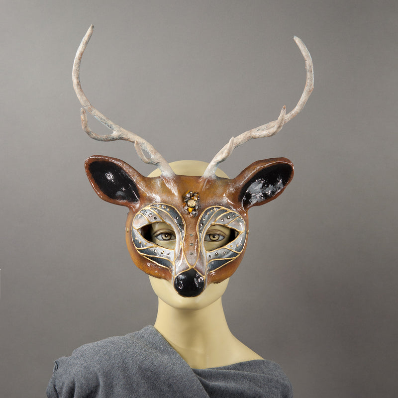 Brown Buck Masquerade mask with antlers