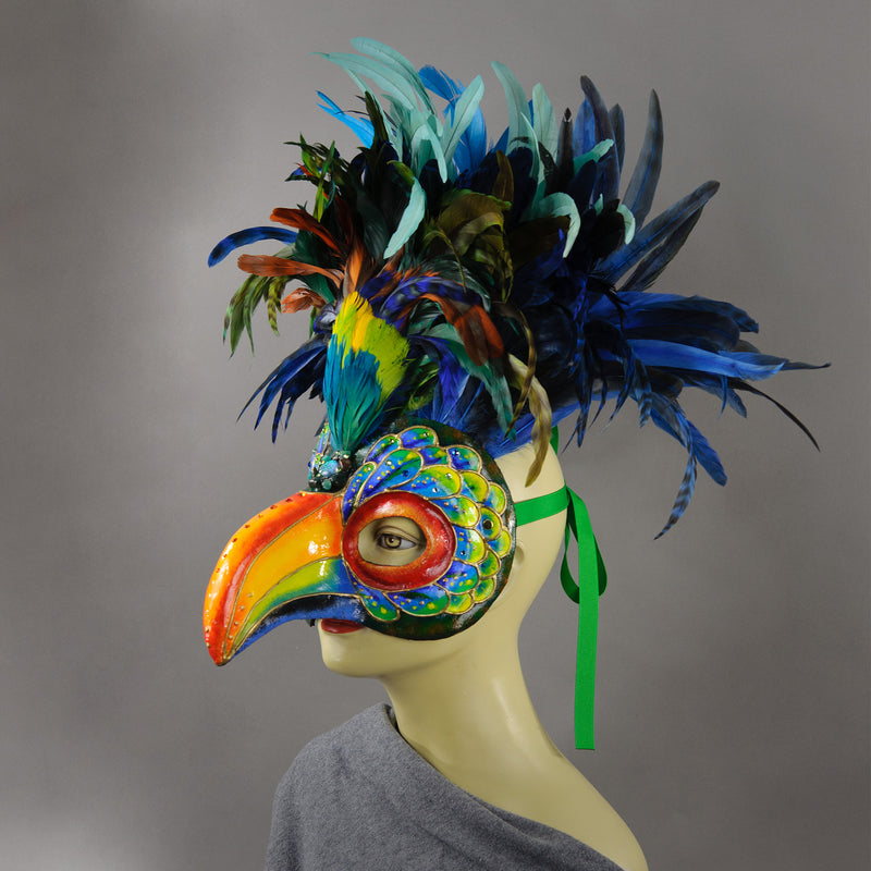 Multicolor Toucan Masquerade Mask side view