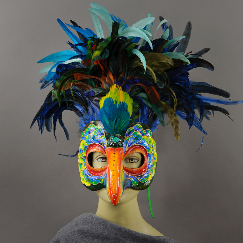 Multicolor Toucan Masquerade Mask front view