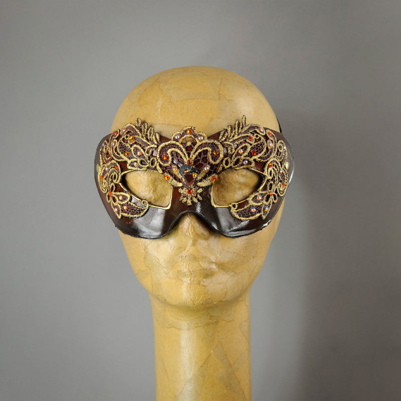 Copper Lace Columbina Venetian Masquerade Mask.
