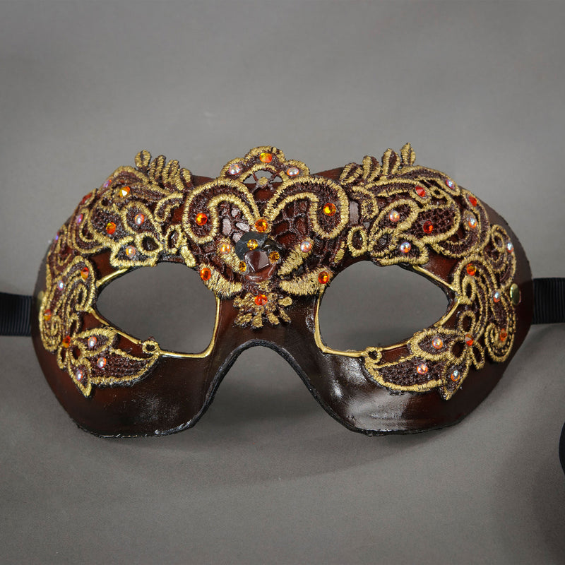 Black and Copper Lace Columbina Venetian Masquerade Mask. Detail.