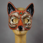 Red Cross Fox masquerade mask - paper-mache, crystals and gems