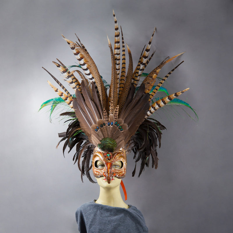 Deluxe Golden Eagle Mask with pheasant and peacock feathers