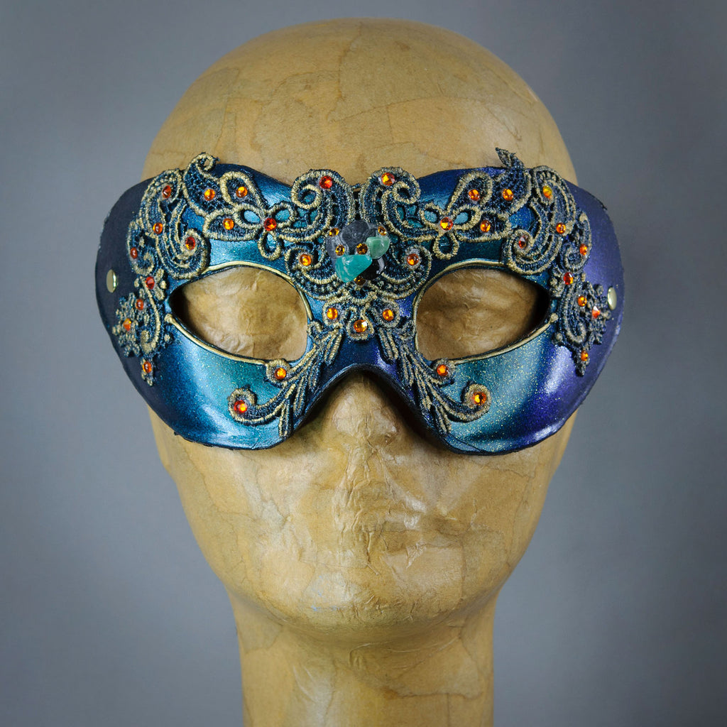 Emerald Green Masquerade Mask with Lace and Swarovski Crystals.