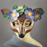 Deer Mask with paper-mache flowers, Swarovski crystals and assorted gems. Detail view.
