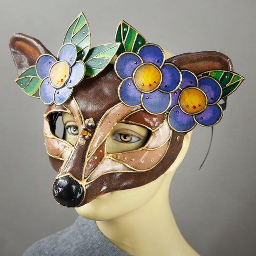 Deer Mask with paper-mache flowers, Swarovski crystals and assorted gems. Side detail view.