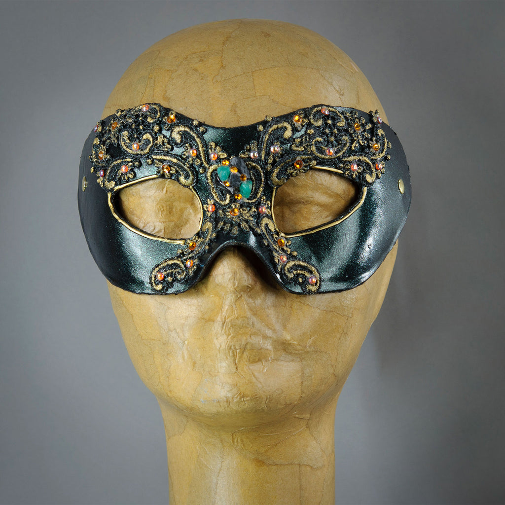 Forest Green Lace Masquerade Mask with gems and Swarovski crystals.