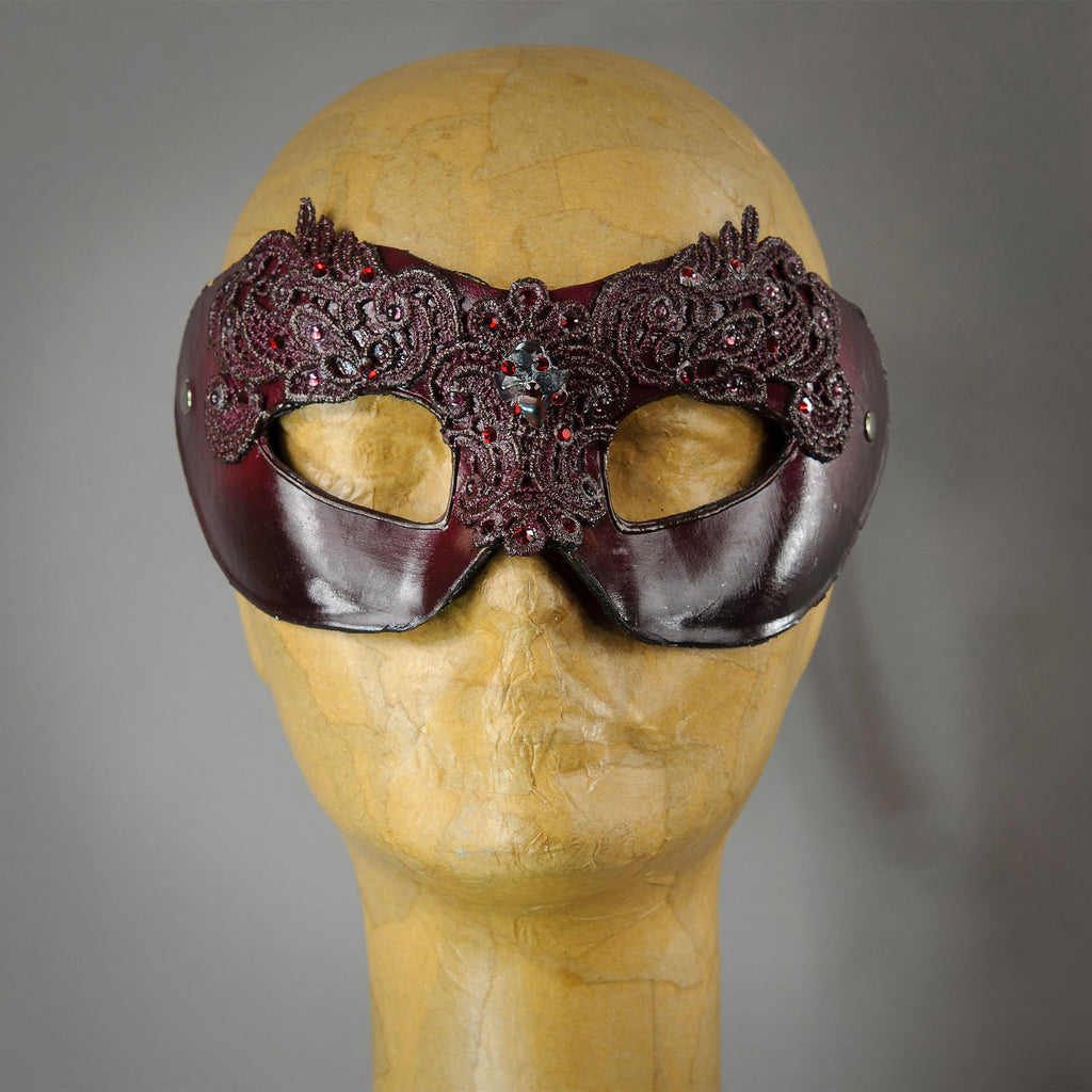 Garnet Red Lace Mask with crystals and gems.