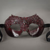 Garnet Red Lace Mask with crystals and gems. Detail.