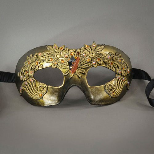 Gold and Black Lace Masquerade Mask with polished gems and Swarovski crystals. Detail.
