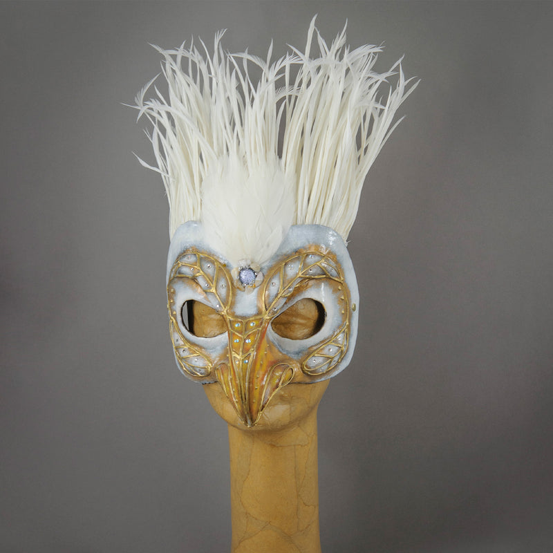 White Eagle paper-mache hand-made mask with goose biots and assorted gems