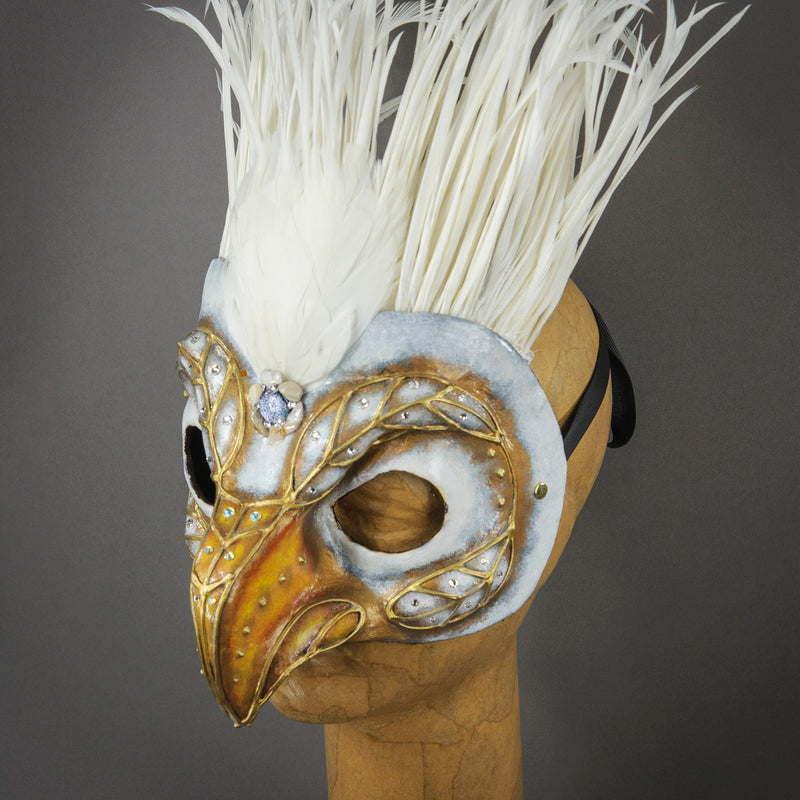 White Eagle Masquerade Mask side view