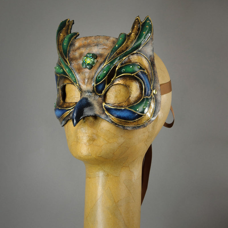 Great Horned Owl paper-mache hand made mask side view