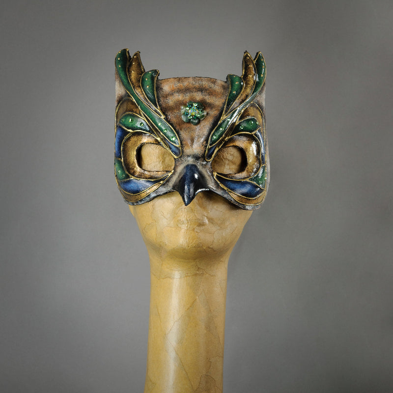 Great horned owl hand-made paper-mache mask