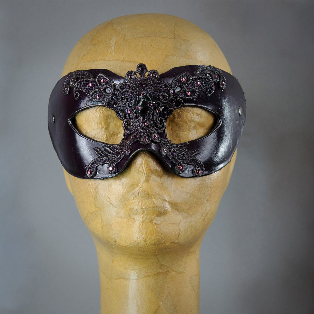 Oxblood Red Lace Masquerade Mask with Swarovski crystals and gems.