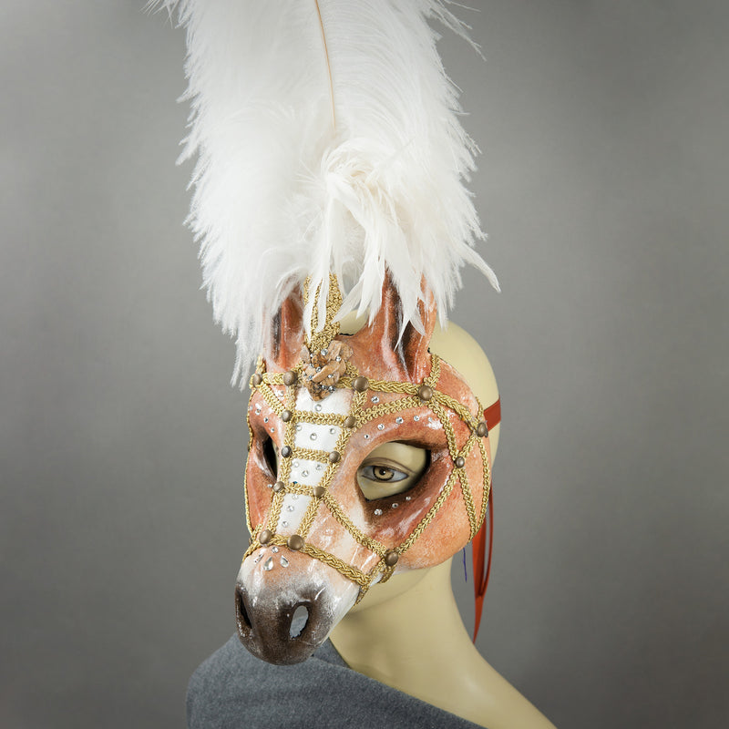 Palomino Horse Feathered Venetian paper-mache Mask with Swarovski crystals and polished stones.