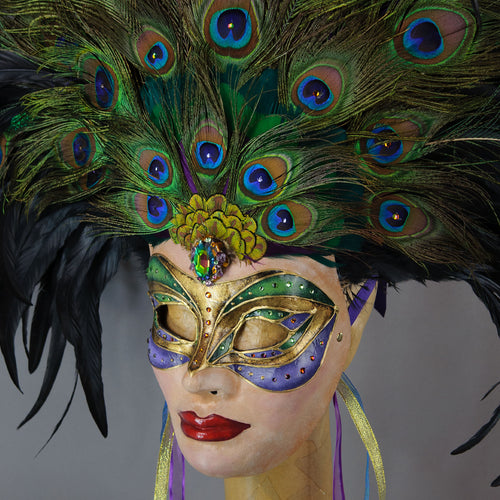 Peacock Goddess Feathered Masquerade Mask