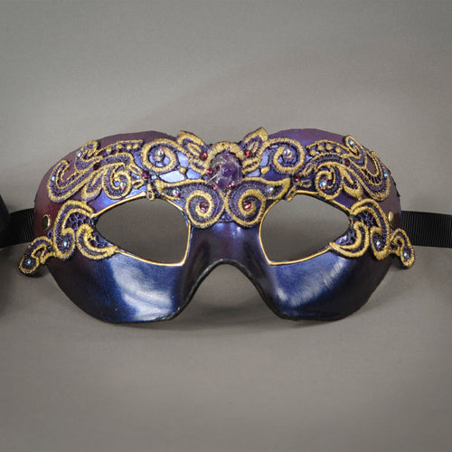 Plum and Black, Lace Columbina Masquerade Eye Mask with gold accents, Swarovski crystals and polished gemstones
