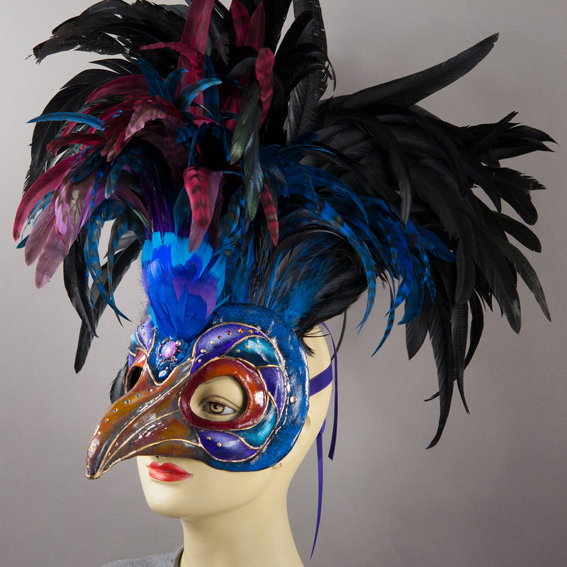 Purple Magpie Bird Masquerade Mask with feather crest, Swarovski crystals and assorted gem stones