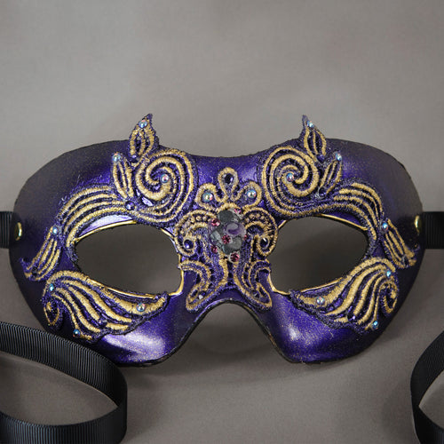 Purple Dazzle Lace Columbina Masquerade Eye Mask with Swarovski crystals and polished gemstones