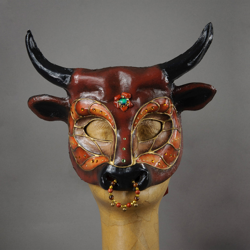 Red and Black Bull Masquerade Mask with Jasper and crystals