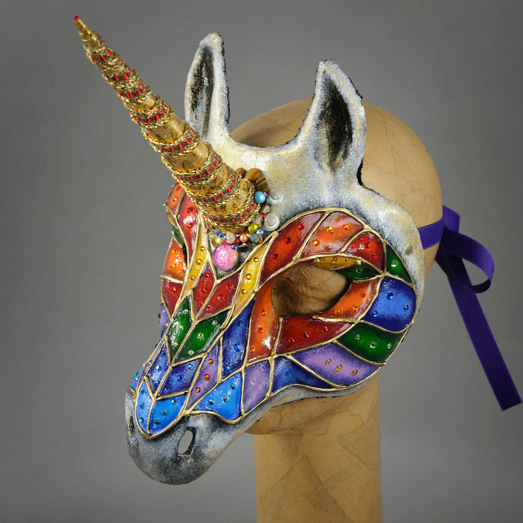 Rainbow Unicorn Masquerade Mask