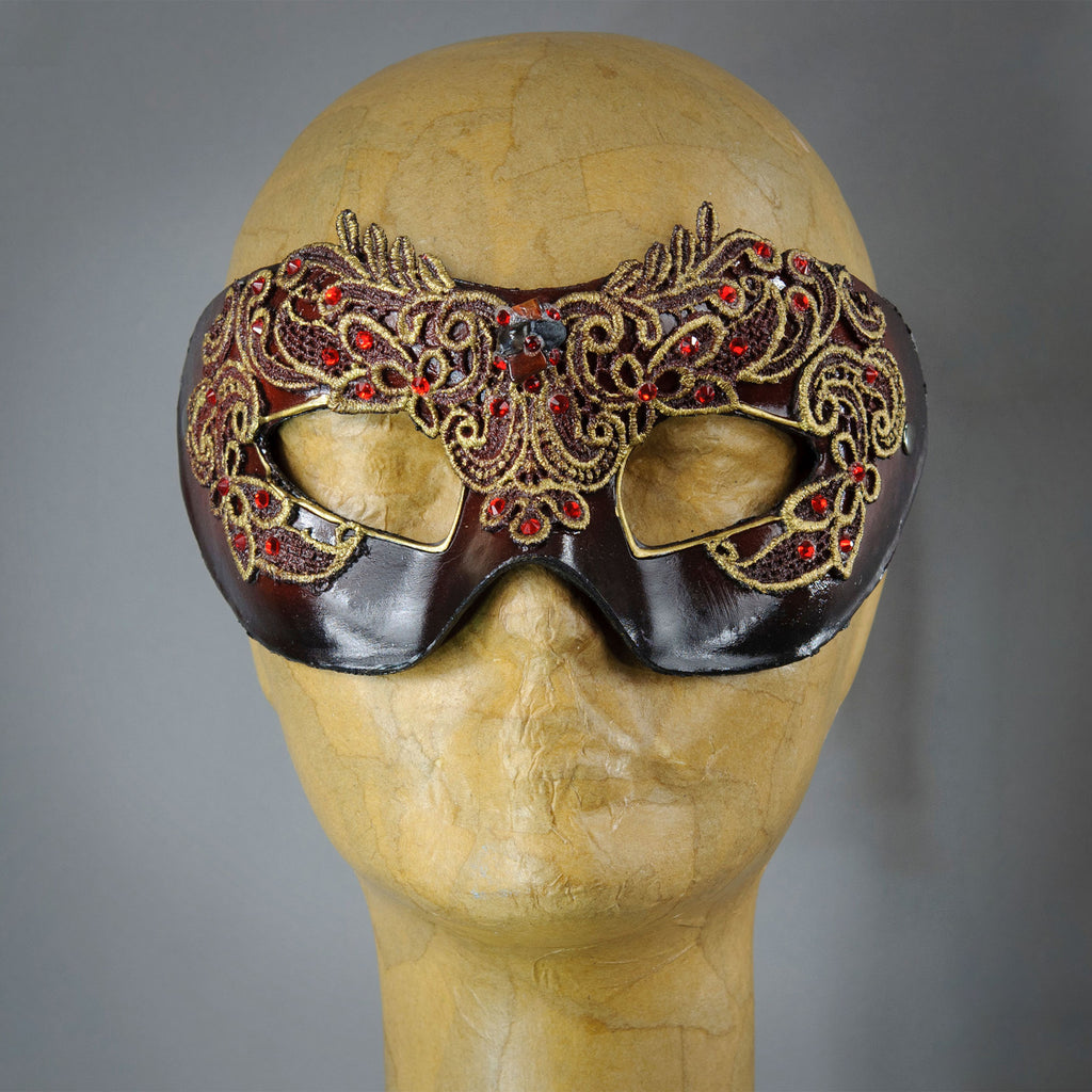 Ruby red lace masquerade mask with lacquered lace, Swarovski crystals and assorted polished gems.